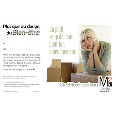 Certificat cadeau pour ton aménagement