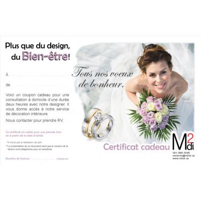 Certificat cadeau pour ton mariage