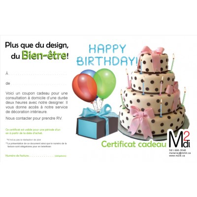 Certificat cadeau pour ton anniversaire